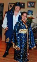 Pirate and Geisha Halloween Costumes